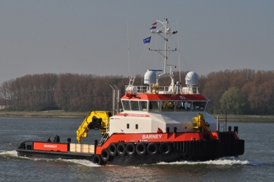 The BARNEY on the Rotterdam Waterway on April 23th 2015 (photo Ruud Zegwaard)|